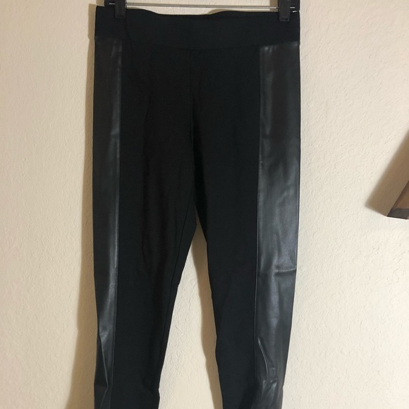 848b9d47d3f64 CAbi Pants | Black Leggings With Side Faux Leather Panels | Poshmark